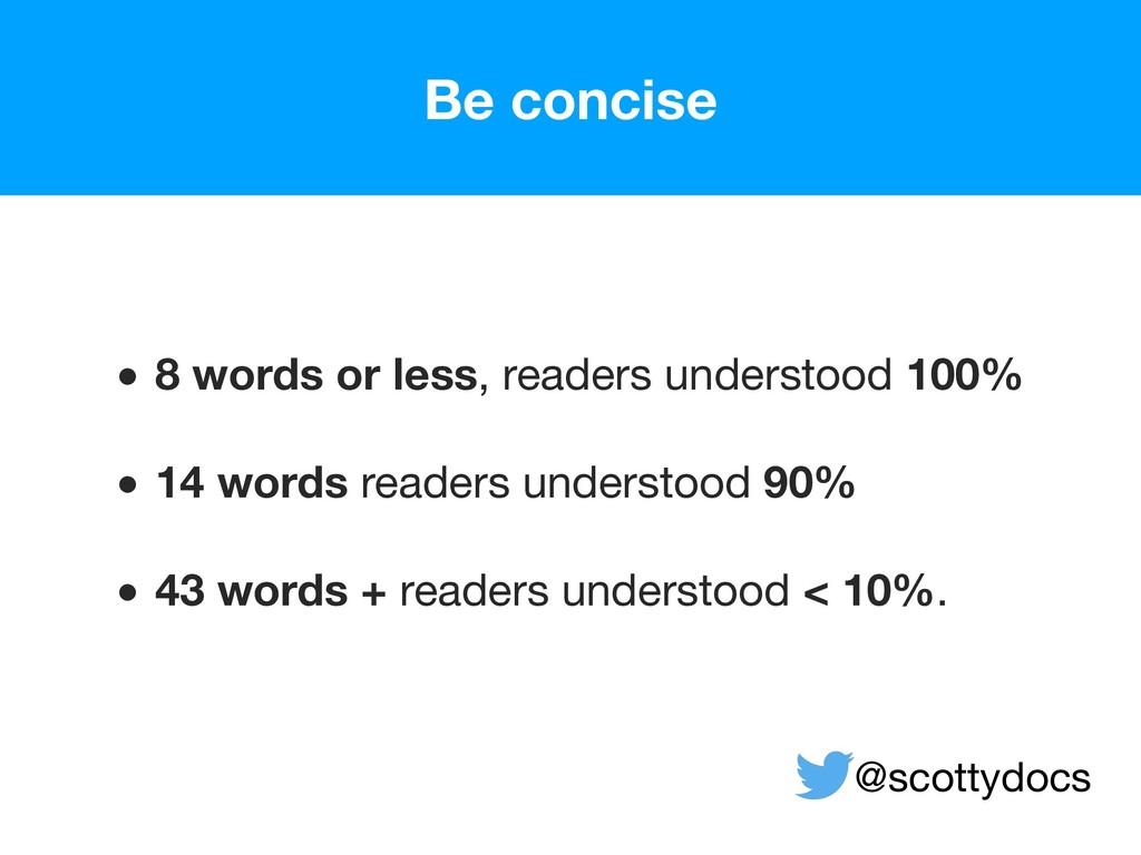 • 8 words or less, readers understood 100% • 1...