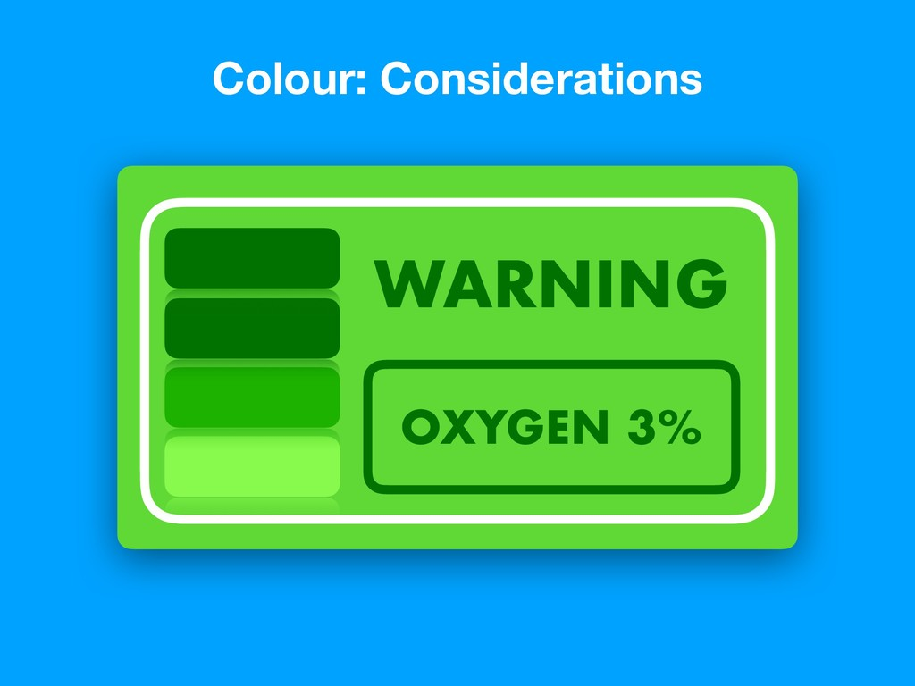 Colour: Considerations OXYGEN 3% WARNING