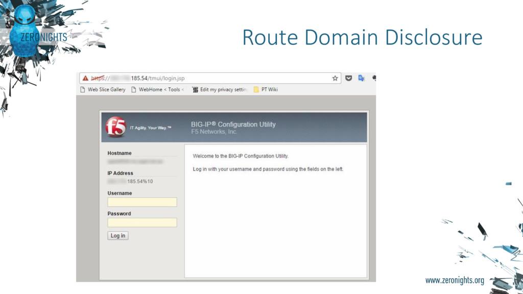 Route Domain Disclosure