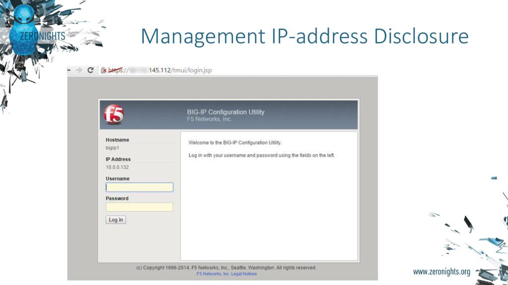 Management IP-address Disclosure