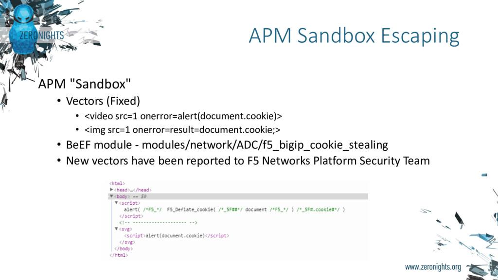 """APM """"Sandbox"""" • Vectors (Fixed) • <video src=1 ..."""