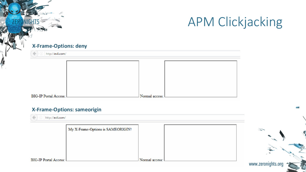 APM Clickjacking X-Frame-Options: deny X-Frame-...
