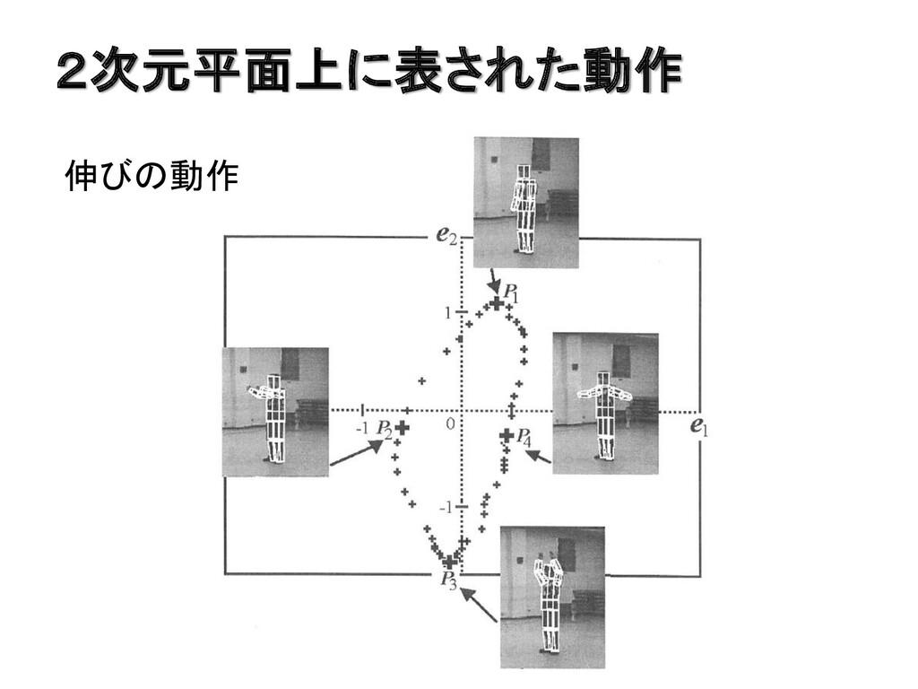 2次元平面上に表された動作 伸びの動作