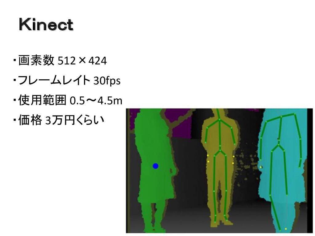 Kinect ・画素数 512×424 ・フレームレイト 30fps ・使用範囲 0.5~4....
