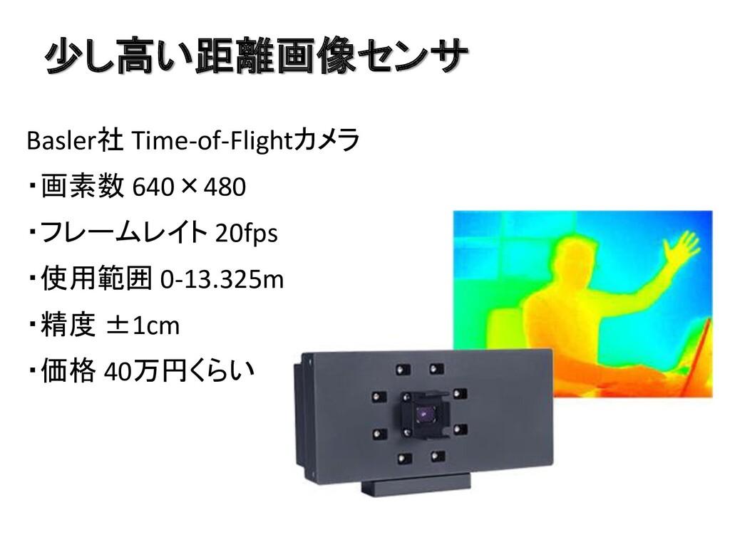 少し高い距離画像センサ Basler社 Time-of-Flightカメラ ・画素数 640×...