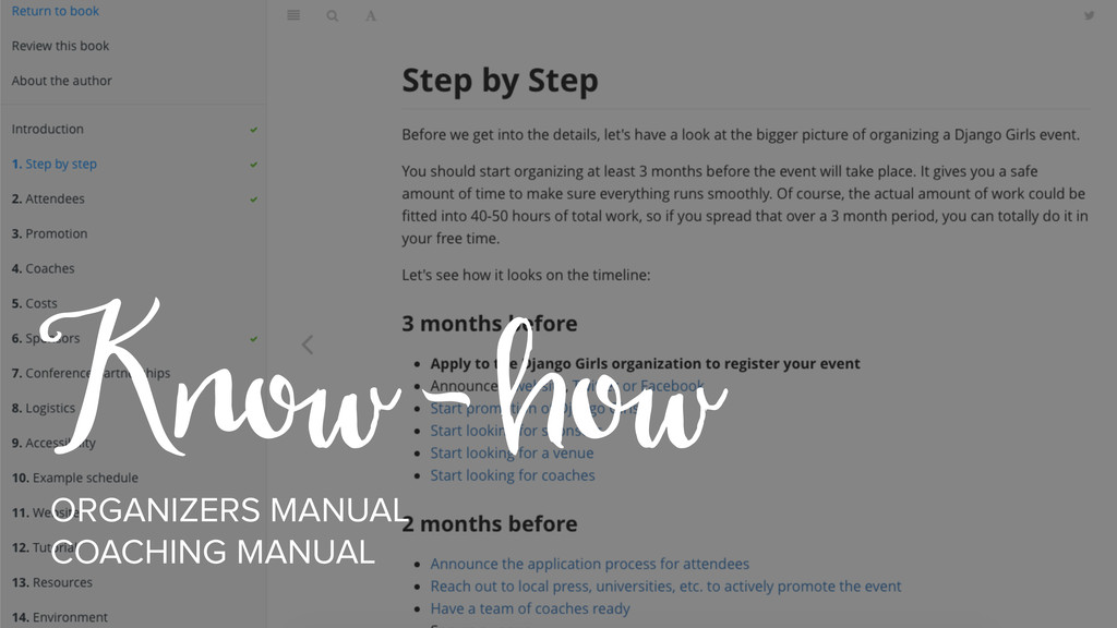 Know - how ORGANIZERS MANUAL COACHING MANUAL