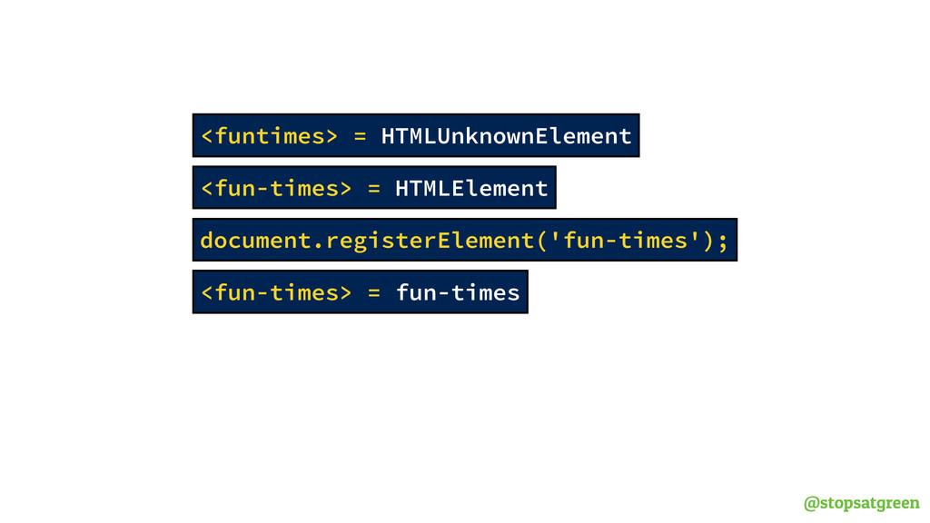 @stopsatgreen <fun-times> = HTMLElement <funtim...