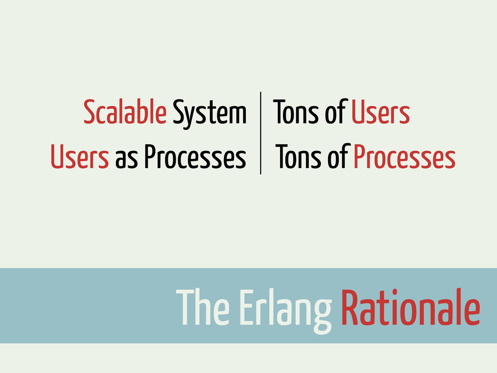 The Erlang Rationale Users as Processes Scalabl...