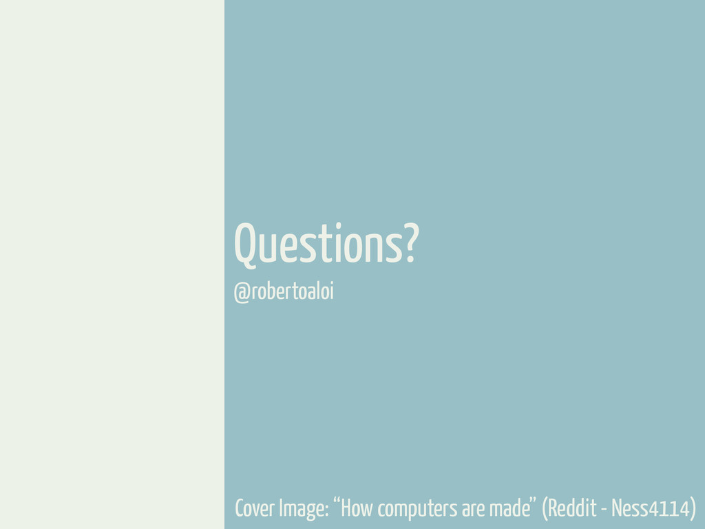 "Questions? @robertoaloi Cover Image: ""How compu..."