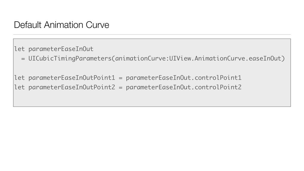 Default Animation Curve let parameterEaseInOut ...
