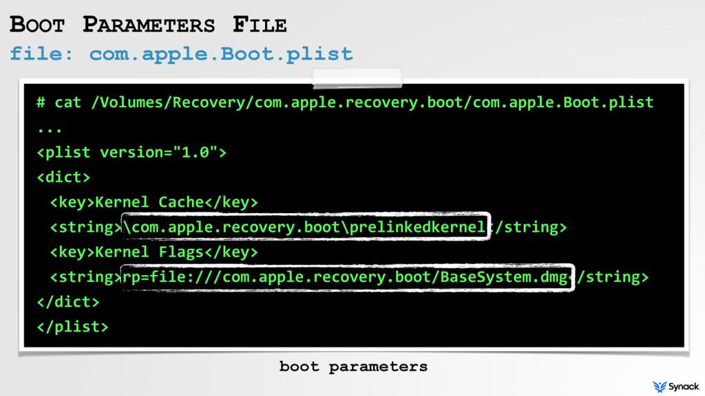 file: com.apple.Boot.plist BOOT PARAMETERS FILE...