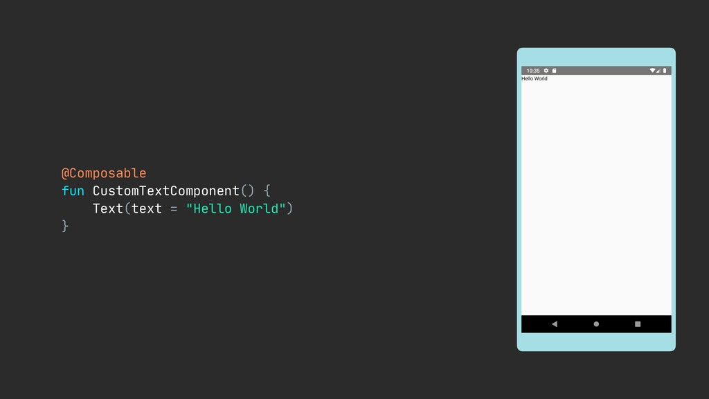 @Composable  fun CustomTextComponent() {  Text(...