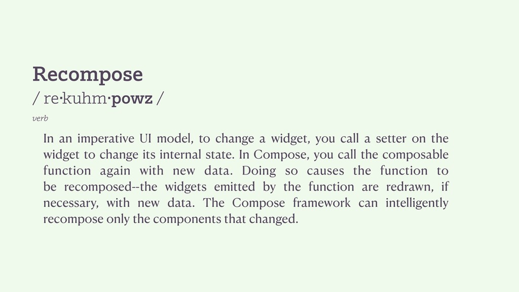 Recompose / re·kuhm·powz / verb In an imperativ...