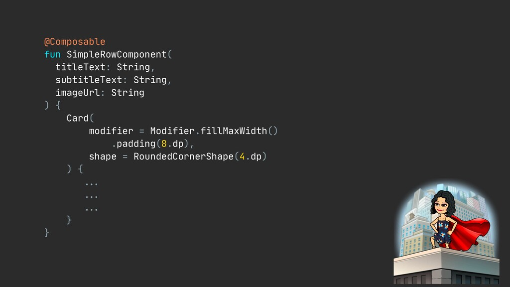 @Composable  fun SimpleRowComponent(  titleText...