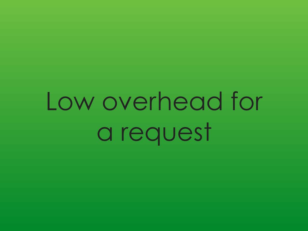 Low overhead for a request