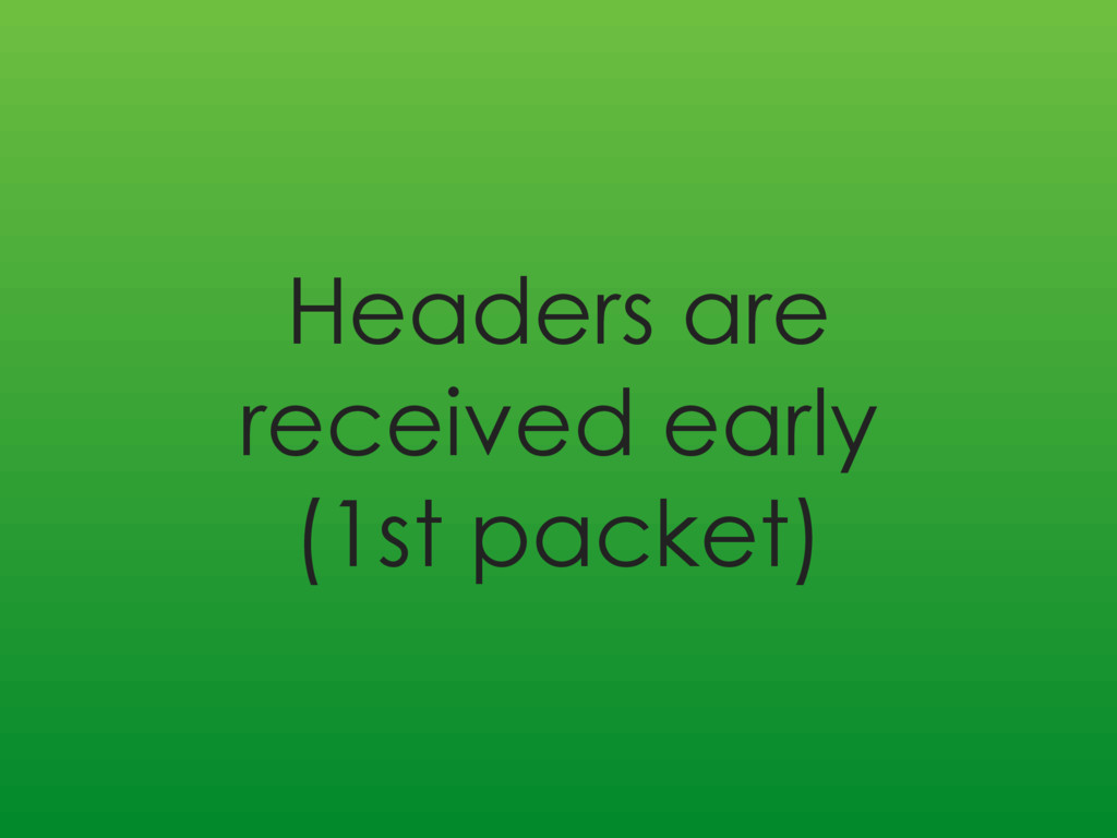 Headers are received early (1st packet)