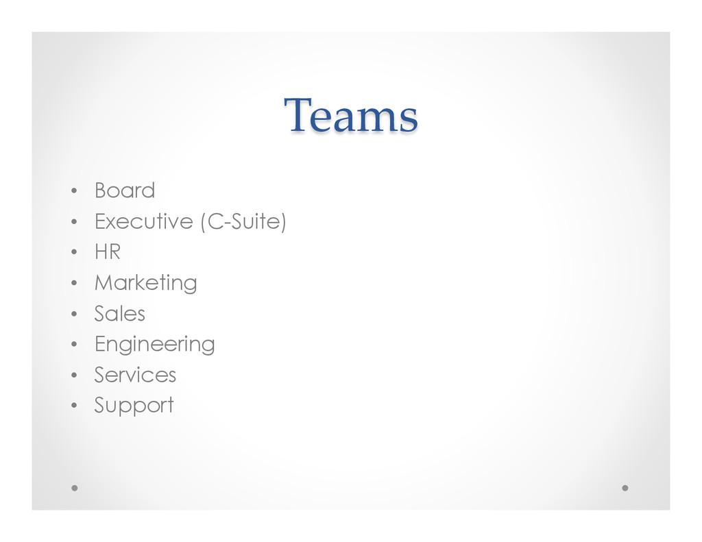 Teams • Board • Executive (C-Suite) • HR •...