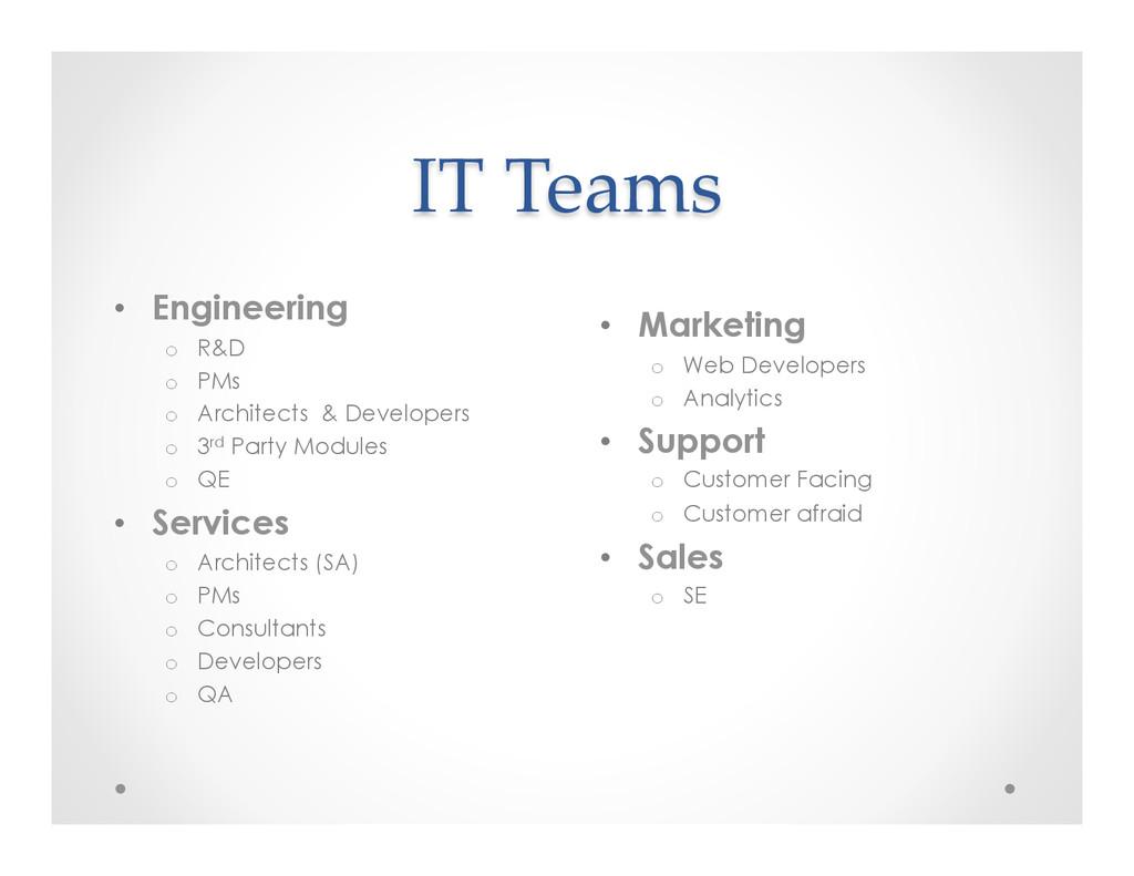 IT Teams • Engineering o R&D o PMs o Arc...