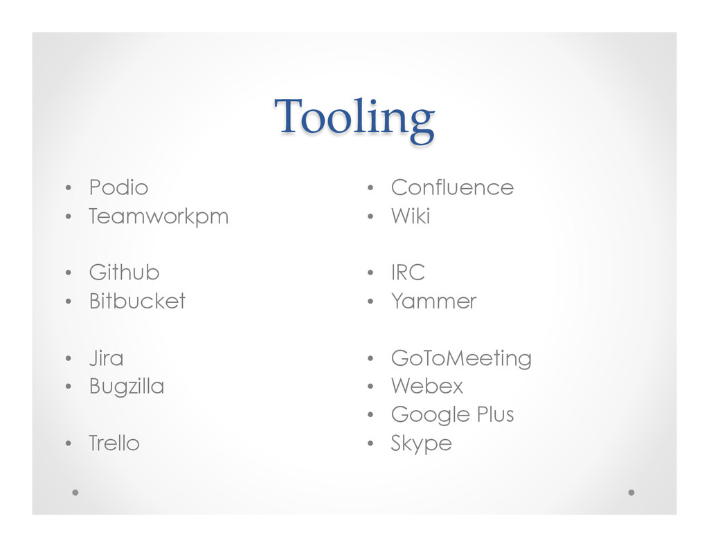 Tooling • Confluence • Wiki • IRC • Yamme...