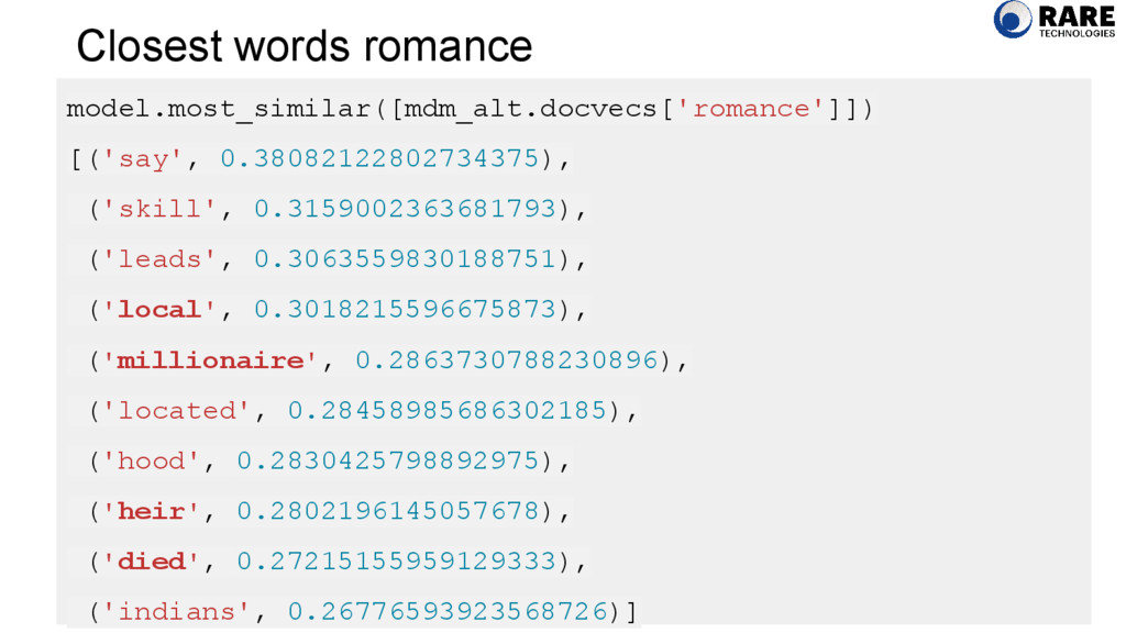 Closest words romance model.most_similar([mdm_a...
