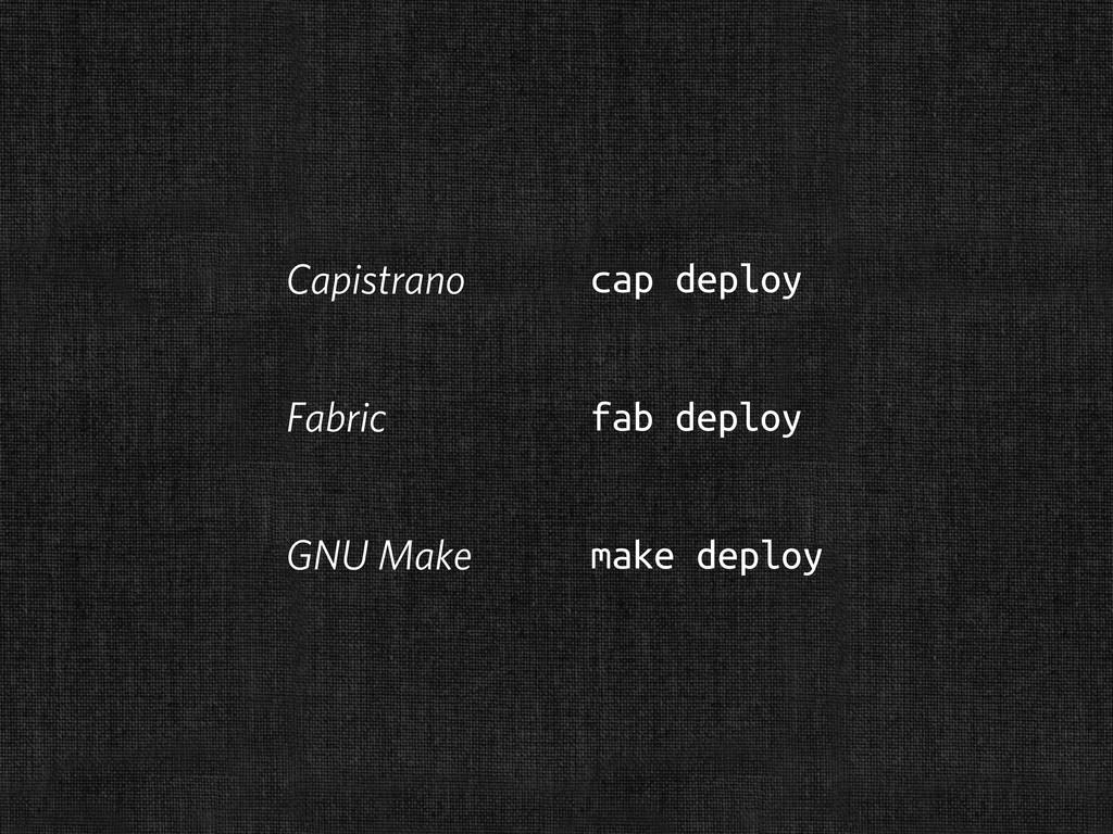 Capistrano cap deploy Fabric fab deploy GNU Mak...