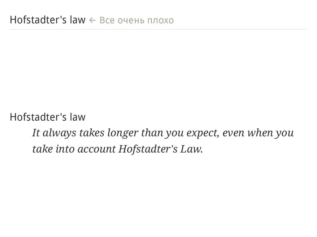 Hofstadter's law ← Все очень плохо Hofstadter's...