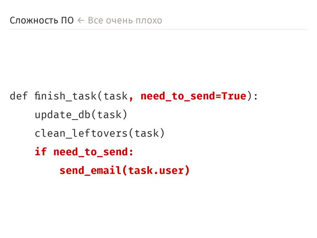 Сложность ПО ← Все очень плохо def finish_task(...