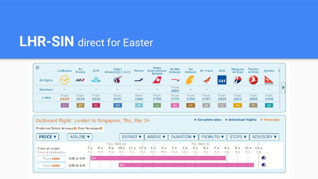 LHR-SIN direct for Easter