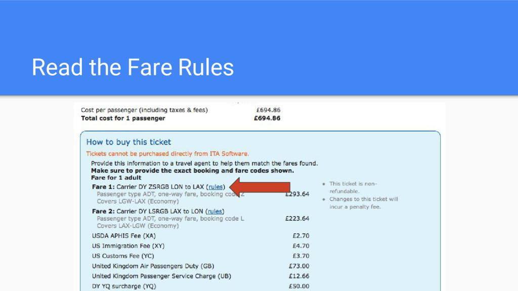 Read the Fare Rules