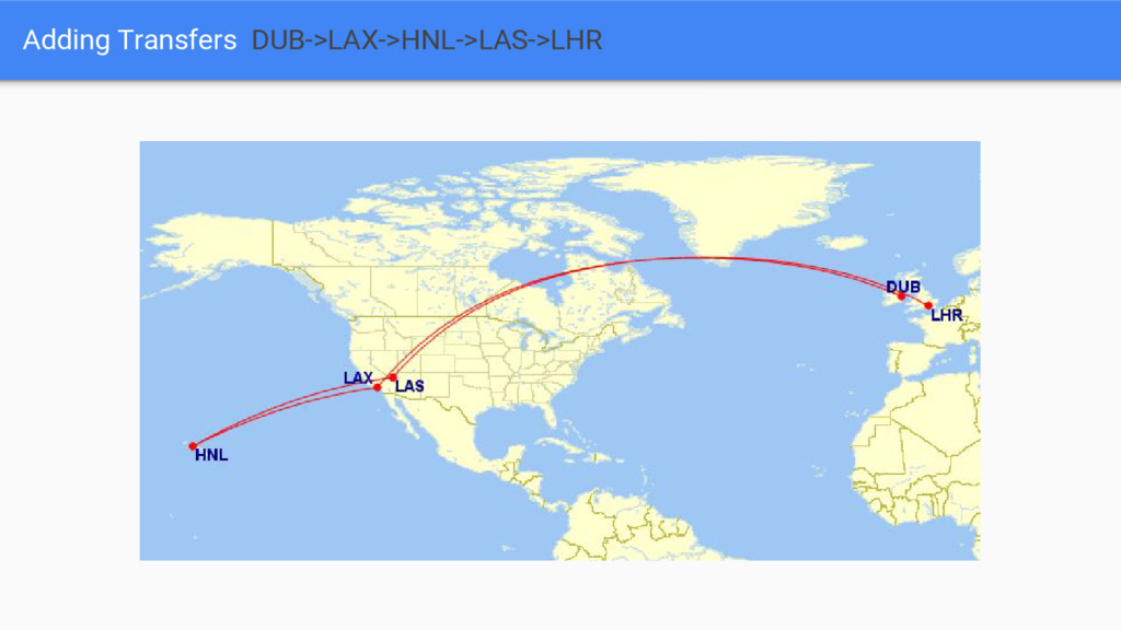 Adding Transfers DUB->LAX->HNL->LAS->LHR