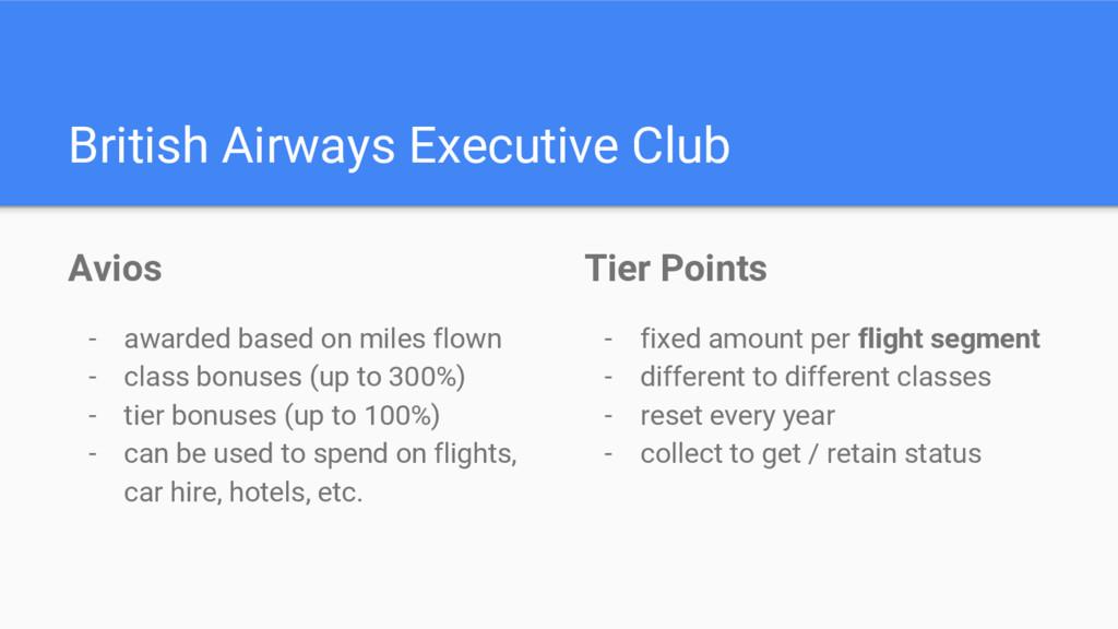 British Airways Executive Club Avios - awarded ...
