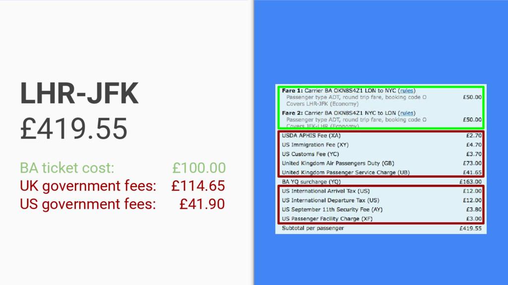LHR-JFK £419.55 BA ticket cost: £100.00 UK gove...