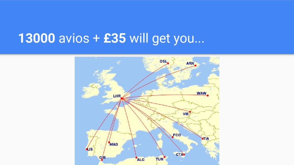 13000 avios + £35 will get you...