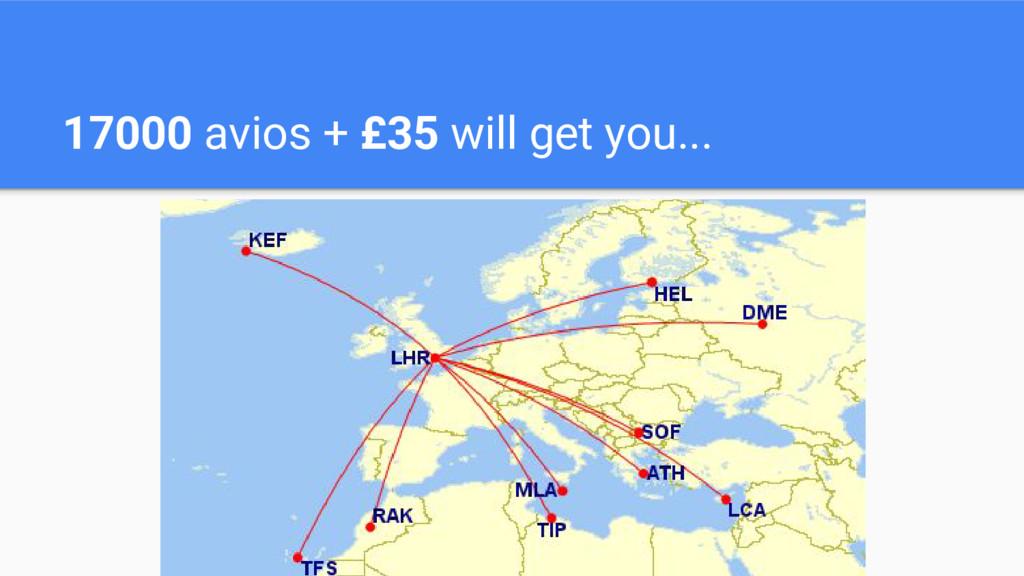 17000 avios + £35 will get you...