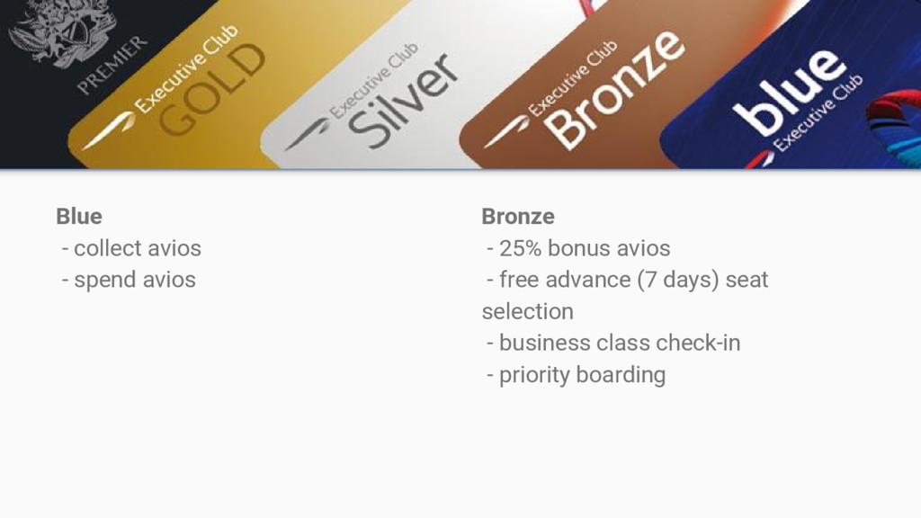 Blue - collect avios - spend avios Bronze - 25%...