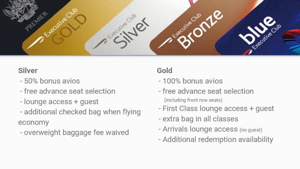 Silver - 50% bonus avios - free advance seat se...