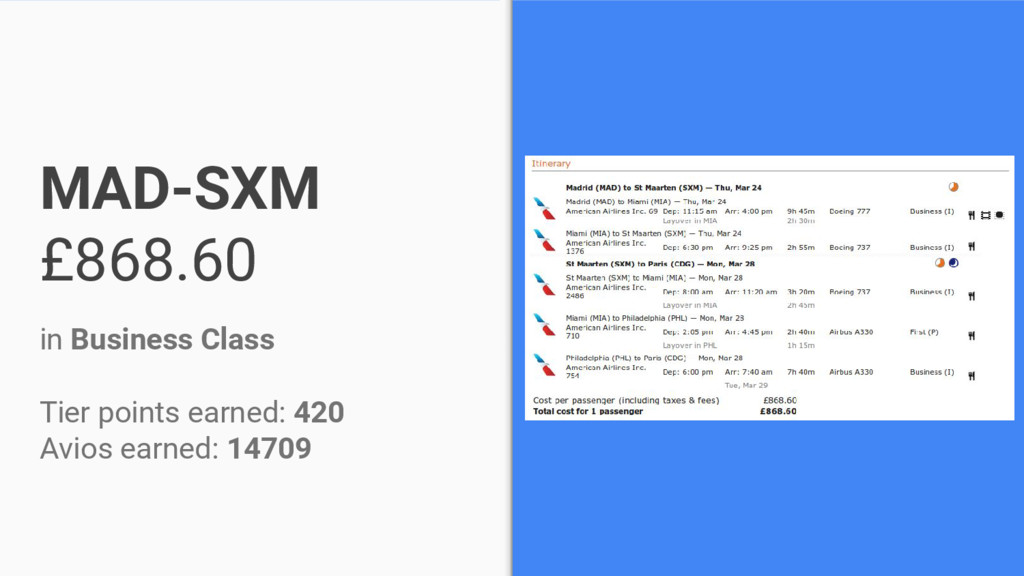 MAD-SXM £868.60 in Business Class Tier points e...