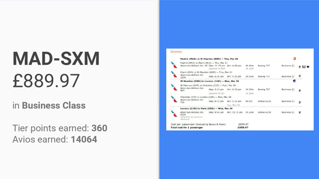 MAD-SXM £889.97 in Business Class Tier points e...