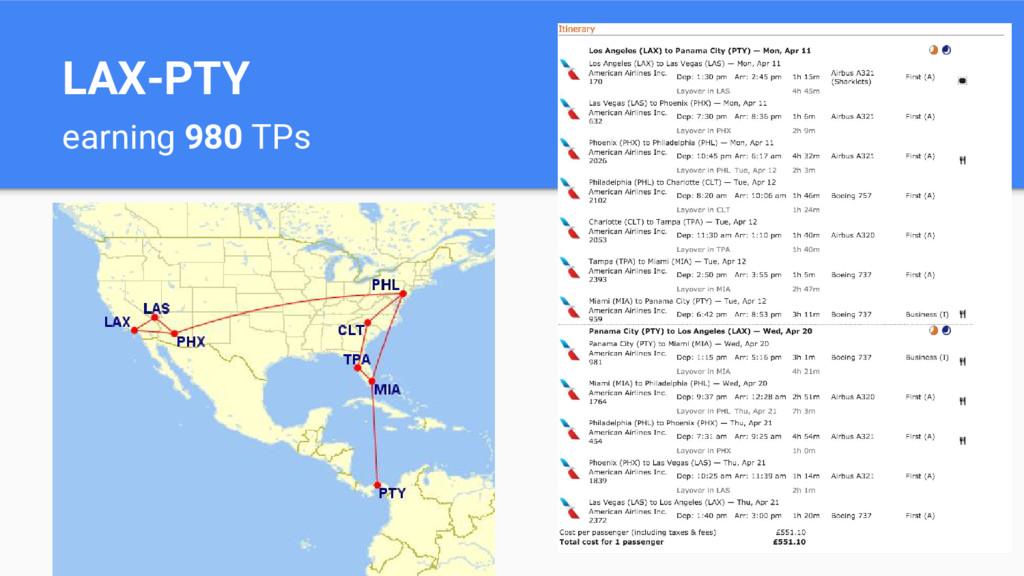 LAX-PTY earning 980 TPs