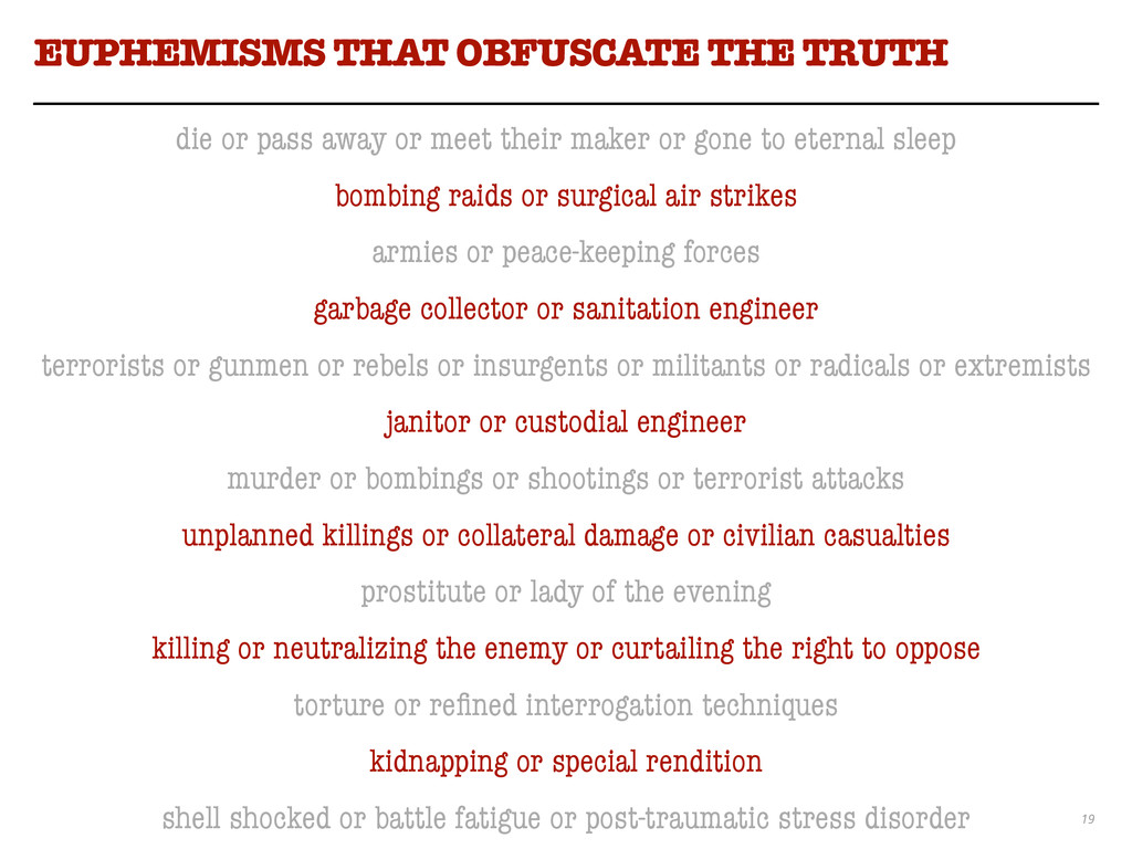 19 EUPHEMISMS THAT OBFUSCATE THE TRUTH die or p...