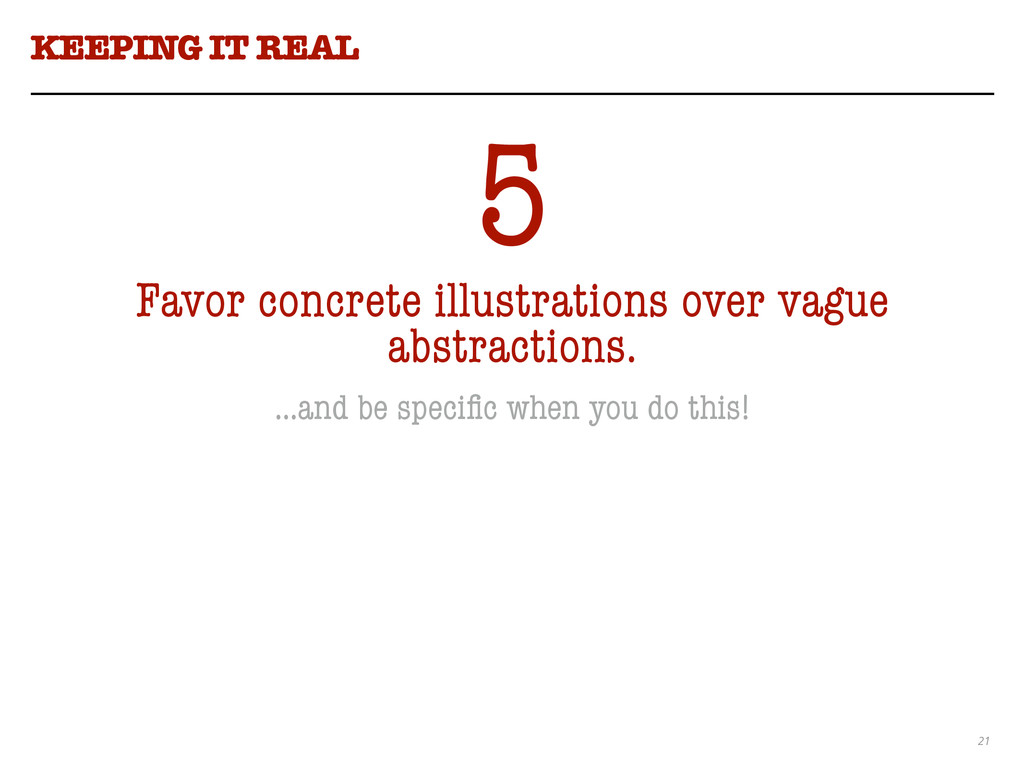 21 KEEPING IT REAL 5 Favor concrete illustratio...