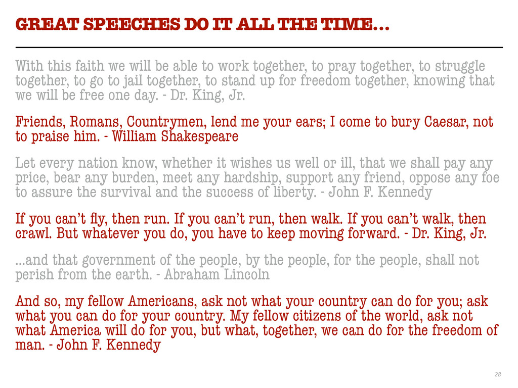 28 GREAT SPEECHES DO IT ALL THE TIME… With this...