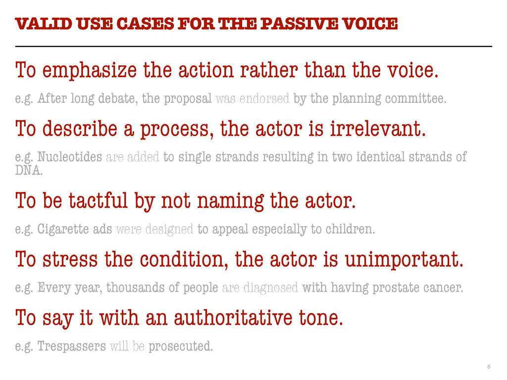 6 VALID USE CASES FOR THE PASSIVE VOICE To emph...