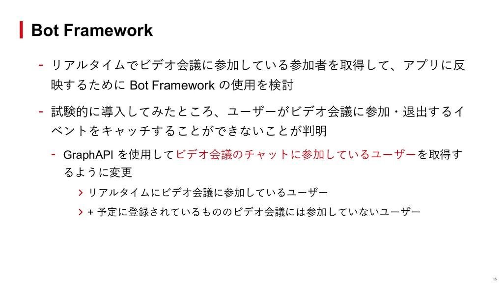 - リアルタイムでビデオ会議に参加している参加者を取得して、アプリに反 映するために Bot ...