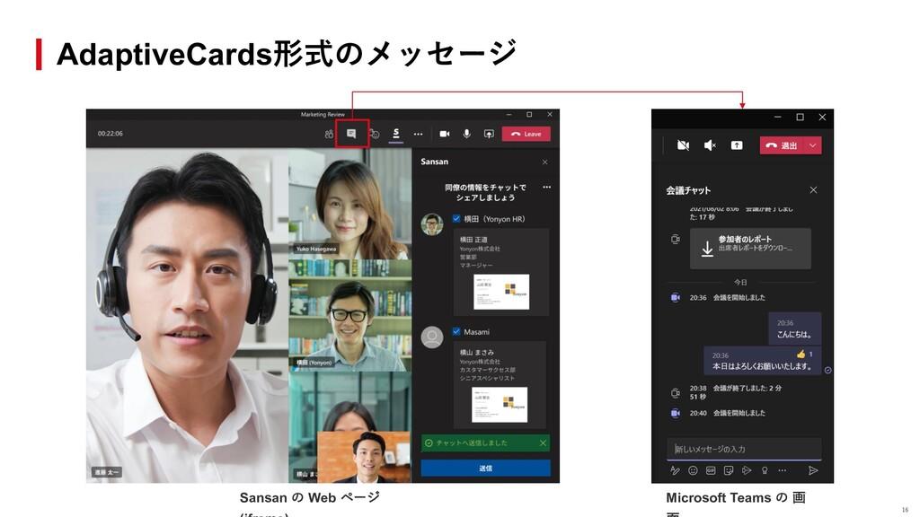 AdaptiveCards形式のメッセージ Sansan の Web ページ Microsof...