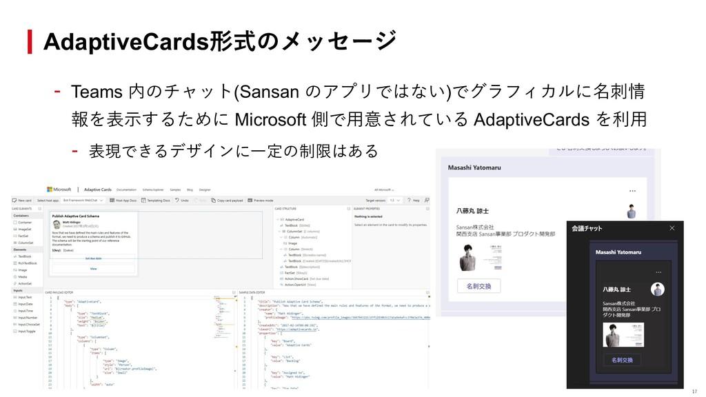 - Teams 内のチャット(Sansan のアプリではない)でグラフィカルに名刺情 報を表⽰...