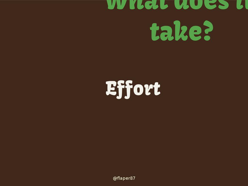 @flaper87 What does it take? Effort