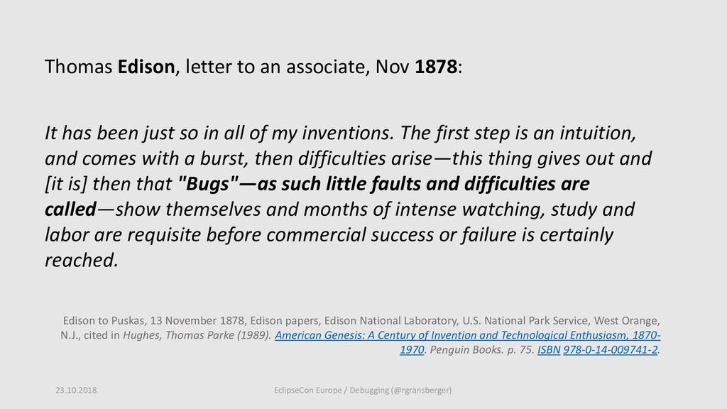 Thomas Edison, letter to an associate, Nov 1878...