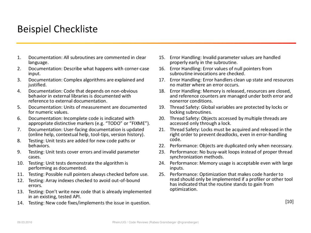 Beispiel Checkliste 1. Documentation: All subro...