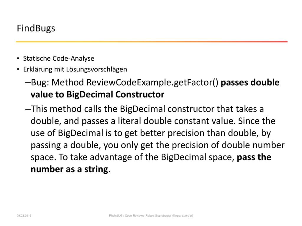 FindBugs • Statische Code-Analyse • Erklärung m...